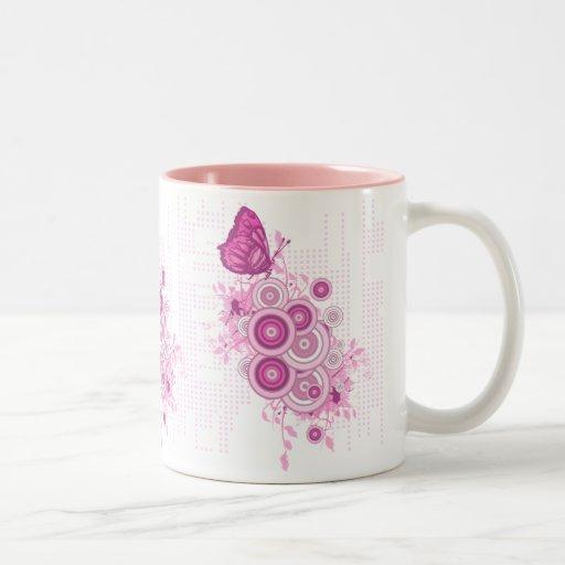los círculos y la mariposa retros diseñan, circl r tazas de café