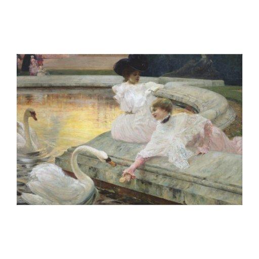 Los cisnes, 1900 lona estirada galerías