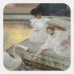 Los cisnes, 1900 pegatina cuadrada