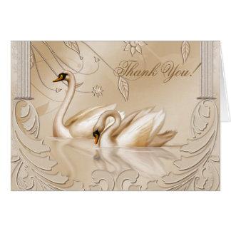 Los cisnes de oro elegantes formales le agradecen tarjeta