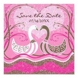 Los cisnes en amor - ahorre la invitación de la invitación 13,3 cm x 13,3cm