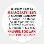 Los ciudadanos dirigen a la revolución del etiqueta redonda