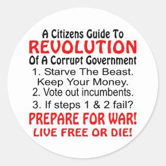 Los ciudadanos dirigen a la revolución del pegatina redonda