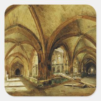 Los claustros de St. Wandrille, c.1825-30 Calcomania Cuadradas