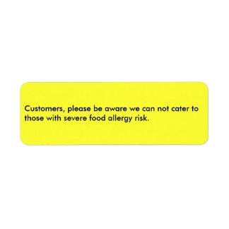 Los clientes, sean por favor conscientes que no etiqueta de remite