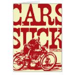 Los coches chupan (el rojo del vintage) tarjeton