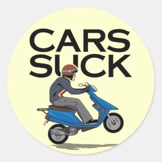 Los coches chupan - la vespa pegatina redonda