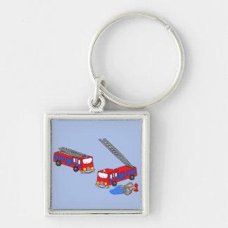 Los coches de bomberos rojos del bombero llavero personalizado