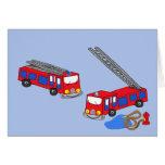 Los coches de bomberos rojos del bombero tarjeton