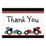 Los coches de carreras le agradecen las tarjetas anuncios