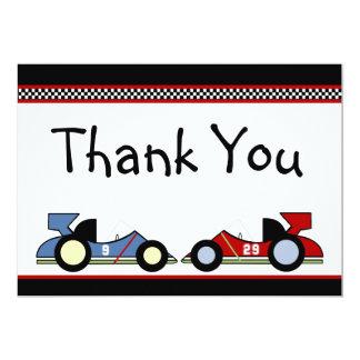 Los coches de carreras le agradecen las tarjetas invitación 12,7 x 17,8 cm