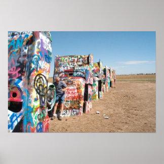 Los coches en el rancho de Cadillac, Amarillo, Póster