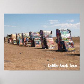 Los coches en el rancho de Cadillac, Tejas Póster