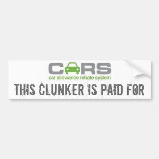 los coches, este clunker son pagados para pegatina para auto