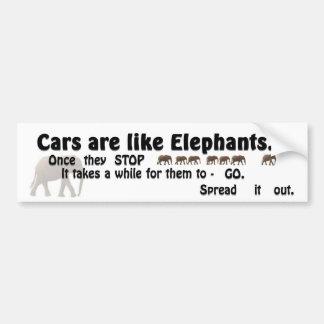 Los coches son como elefantes pegatina para auto