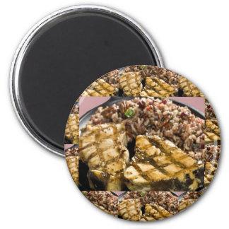 Los cocineros del arroz del pollo n de la dieta imán redondo 5 cm