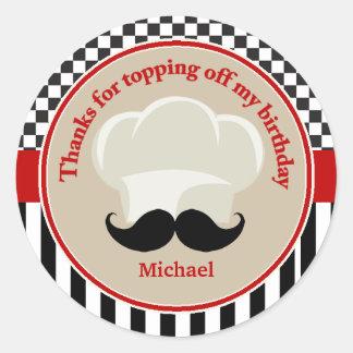 Los cocineros gorra y bigote le agradecen pegatina