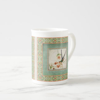 Los colibríes n del vintage del Chinoiserie Taza De Porcelana