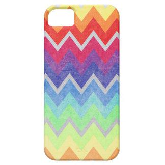 Los colores del arco iris de Chevron texturizaron iPhone 5 Case-Mate Coberturas