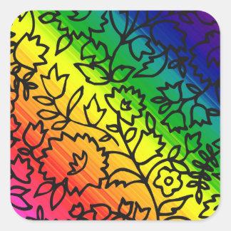 Los colores del arco iris del orgullo gay, atan pegatina cuadrada