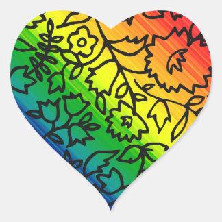 Los colores del arco iris del orgullo gay, atan pegatina en forma de corazón