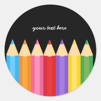 los colores del lápiz * elija su color de fondo pegatina redonda