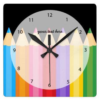 los colores del lápiz * elija su color de fondo reloj cuadrado