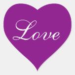 Los colores invitan a púrpura pegatina corazon personalizadas