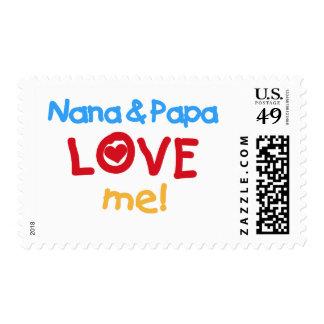 Los colores primarios Nana y la papá me aman Estampilla