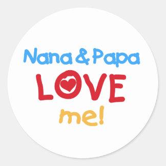 Los colores primarios Nana y la papá me aman Pegatina Redonda