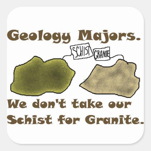 Los comandantes de la geología no toman nuestro es calcomania cuadradas personalizadas