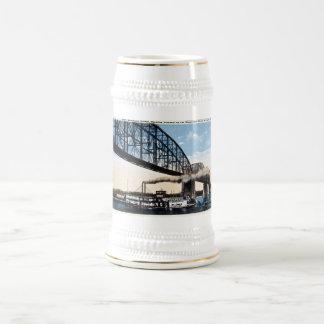 Los comerciantes tienden un puente sobre, río jarra de cerveza