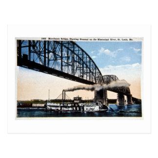 Los comerciantes tienden un puente sobre, río postal
