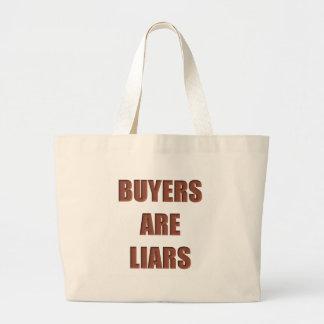 Los compradores son mentirosos bolsa tela grande