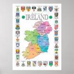 Los condados del poster de Irlanda