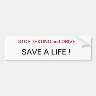 Los conductores de Texting de la parada ahorran un Pegatina Para Auto