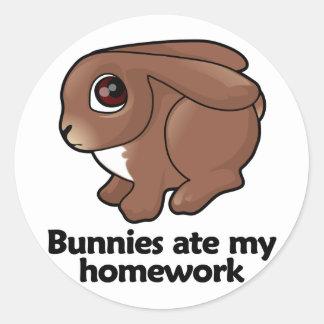 Los conejitos comieron mi preparación pegatina redonda