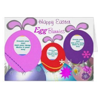 Los conejitos del huevo de Pascua añaden su foto Tarjeta De Felicitación