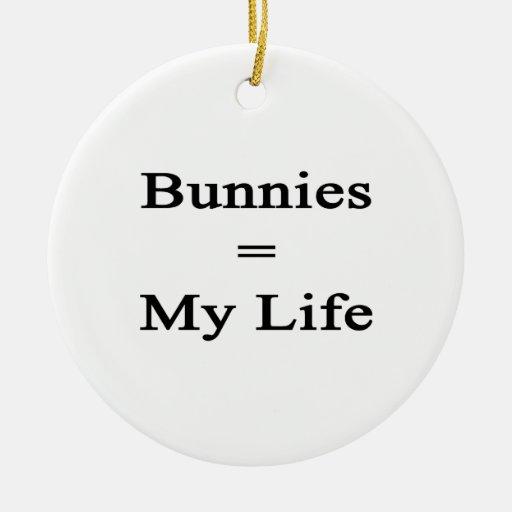 Los conejitos igualan mi vida adorno redondo de cerámica