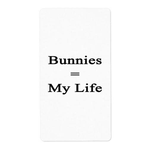 Los conejitos igualan mi vida etiquetas de envío