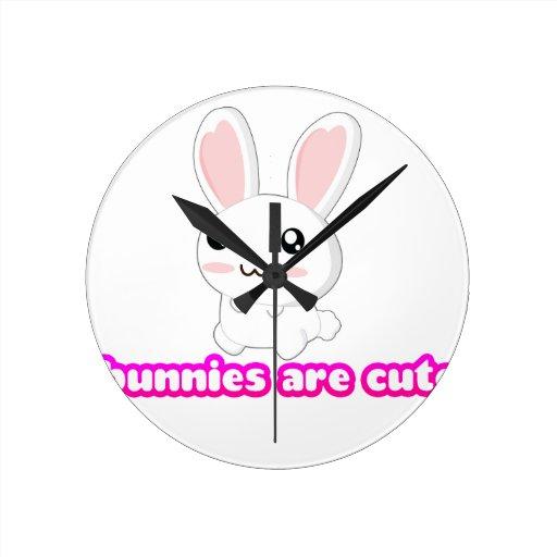 Los conejitos son lindos - conejito de los conejos reloj de pared