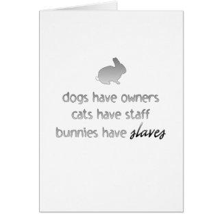 Los conejitos tienen esclavos tarjeta de felicitación