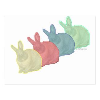 Los conejos de conejito 4 colorean a 4 amantes del postal