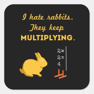 Los conejos guardan el multiplicarse pegatina cuadrada