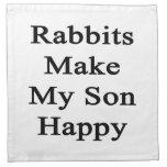 Los conejos hacen a mi hijo feliz servilletas