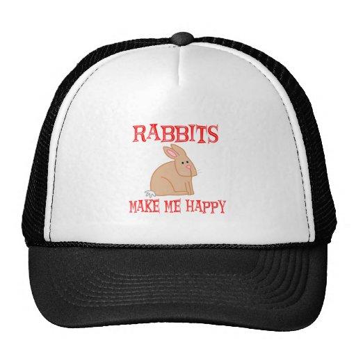 Los conejos me hacen feliz gorras