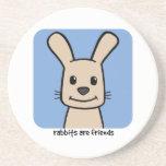 Los conejos son amigos posavasos personalizados