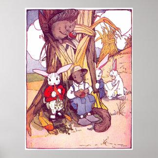 Los conejos y las ardillas almuerzan póster