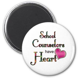 Los consejeros de la escuela tienen corazón imán redondo 5 cm