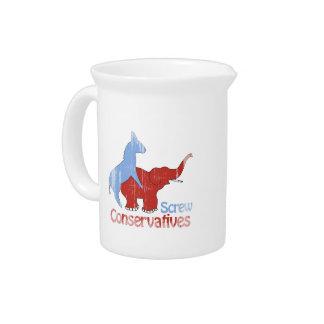 Los conservadores del tornillo se descoloraron jarras de beber